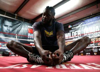 Deontay Wilder works out for the media in Northport, Alaska