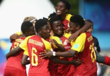 Ghana celebrate their winning goal