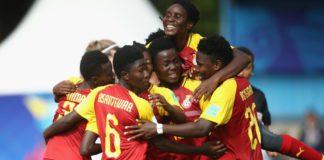 Ghana celebrate their winning goal