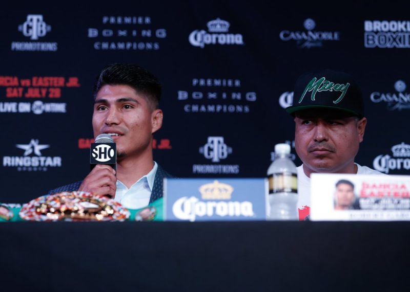 Mikey Garcia speaking the press ahead of Robert Easter Jr. fight