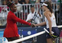Serena Williams [left] shake hands with Johanna Konta