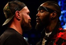 Tyson Fury [left] and WBC Heavyweight champion Deontay Wilder after Tyson Fury defeated Francesco Pianeta