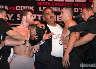 Canelo attacks GGG at the weigh-in