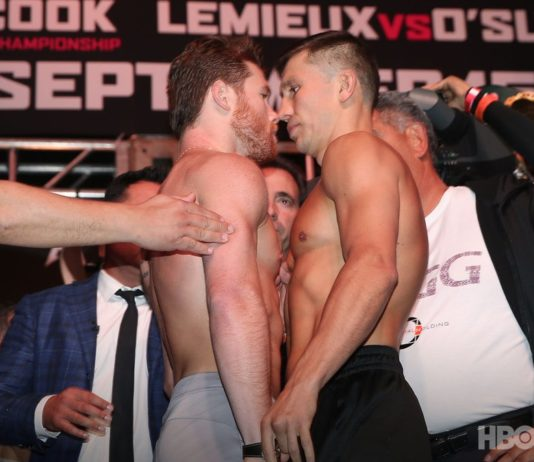 Canelo faces off with Gennady Golovkin ahead of fight night