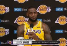 LeBron James meets with the press