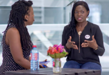 Lucy Quist [right being interviewed]