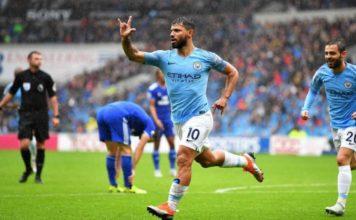 Sergio Aguero celebrates a goal for Manchester City against Cardiff