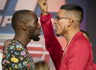 Benavidez [right] calling the hell out of Crawford