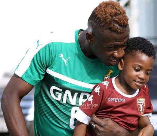 Ghana's Afriyie Acquah goes to Black Stars training grounds with his little son