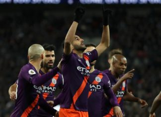 Riyad Mahrez thanking his stars after giving Man City the lead