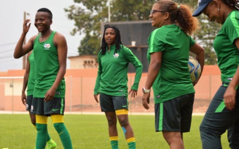 Desiree Ellis (with the ball) during a Banyana Banyana training session