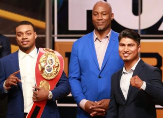 Errol Spence [left] takes on Mikey Garcia in the battle of the undefeateds