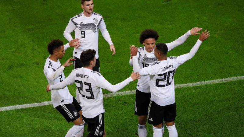 Leroy Sane of Germany celebrates with team-mates