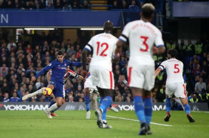 Morata volleys home the first goal to put Chelsea in front