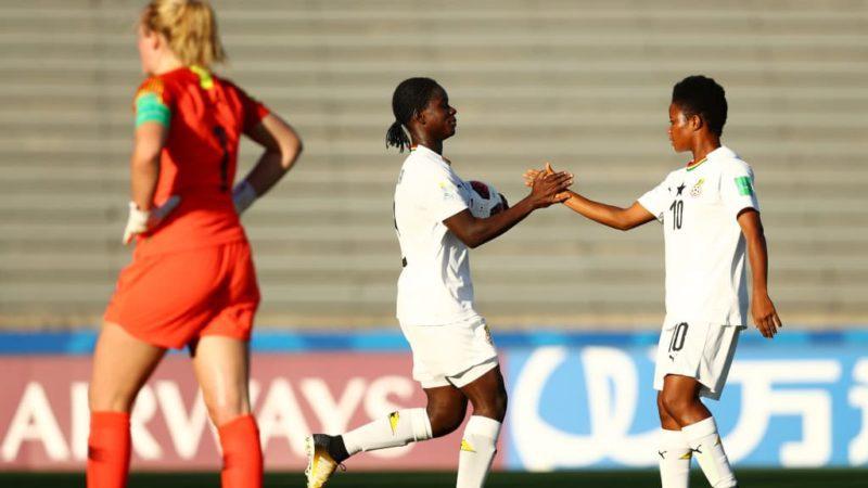 Mukarama Abdulai of Ghana celebrates with Fuseina Mumuni after scoring a goal