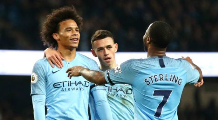 Raheem Sterling [7] celebrates with Sane and Foden