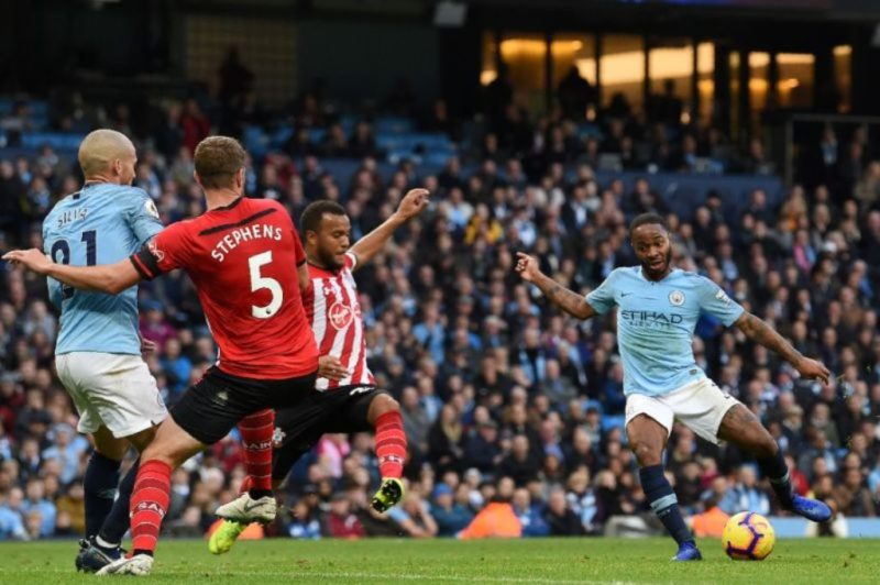 Raheem Sterling, pictured scoring Manchester City's fourth goal