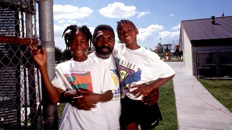 The Williams sisters with their father, Richard Williams, in Compton, Calif., in 1991