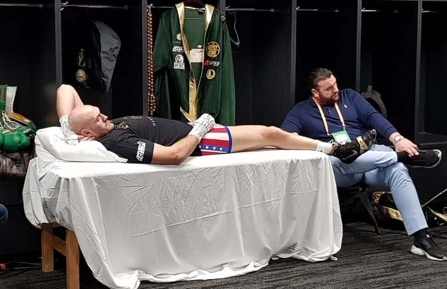 Tyson Fury relaxing in the locker room