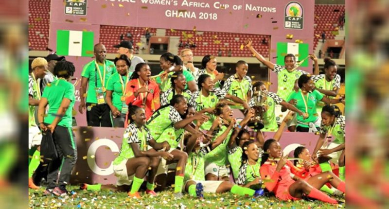 The Super Falcons celebrate after winning AWCON