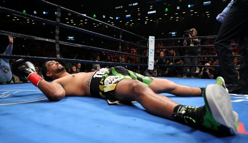 Breazeale lying helplessly after been punched out by the Bronze Bomber