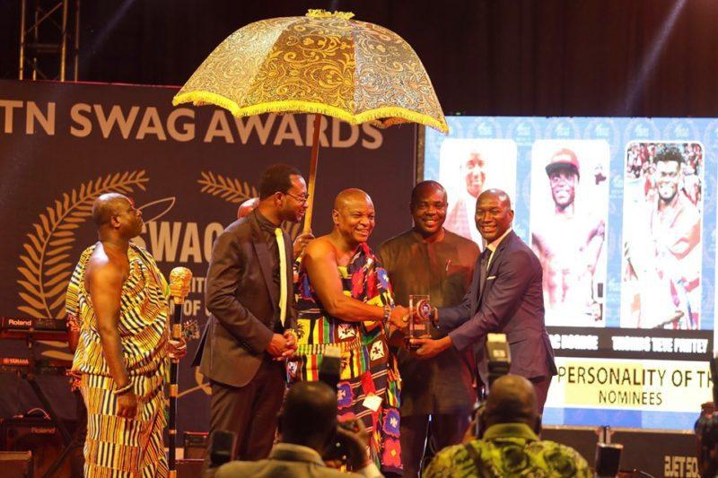 Mr. Selorm Adadevoh [left] watching on as Torgbui Afede present award to Joe Addo