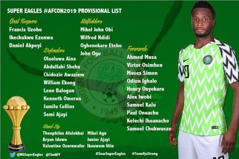 Super Eagles AFCON provisional squad