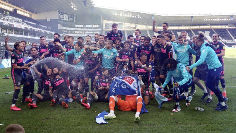 Leeds United celebrating their promotion