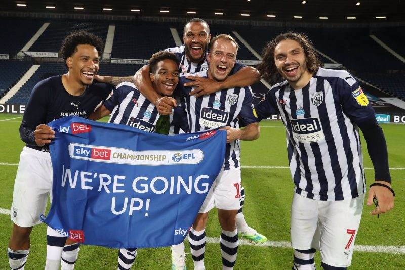 Players of West Brom celebrating their promotion to the Premier League