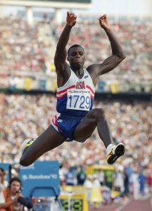 Carl Lewis, the greatest track and field star of all time, jumps to Olympic gold in the Long Jump at Barcelona '92