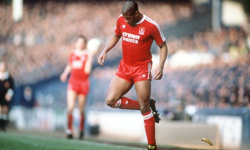 John Barnes, the second black to play for Liverpool, back-heels a banana thrown at him in a Merseyside derby game at Goodison Park in 1988