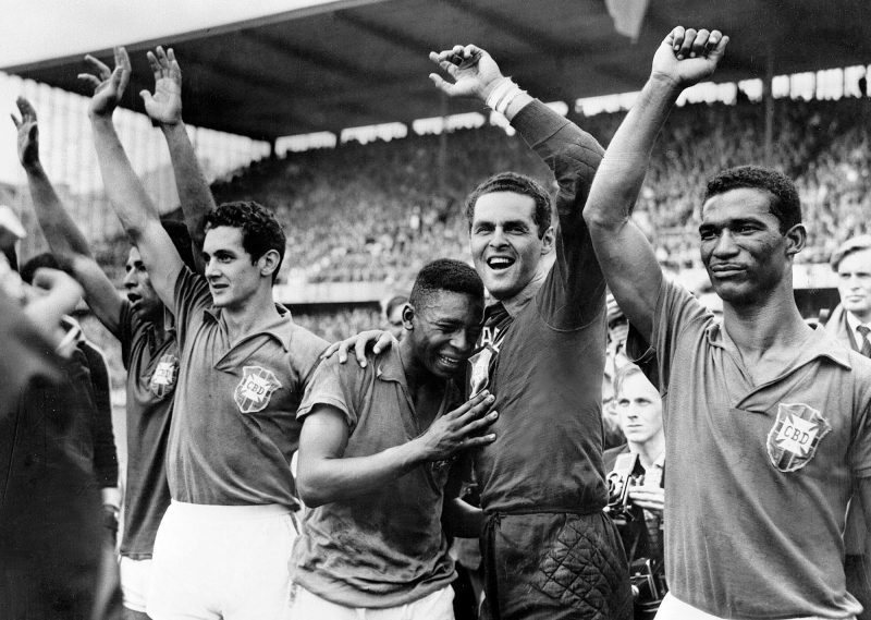 Pele, still regarded by many as football's greatest ever player, cries in celebration after stunning the world at the 1958 World Cup as a 17-yr-old and inspiring Brazil to the Jules Rimet trophy, the first of their five World Cup titles.