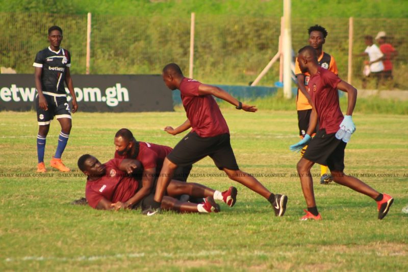 Pictorial evidence of how Legon Cities physical trainer was chased and disarmed by his own colleagues